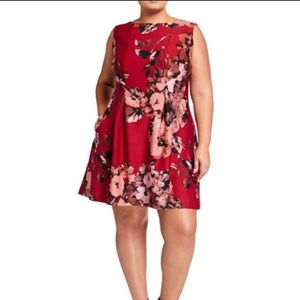 Just Taylor Red Floral Fit and Flare Dress